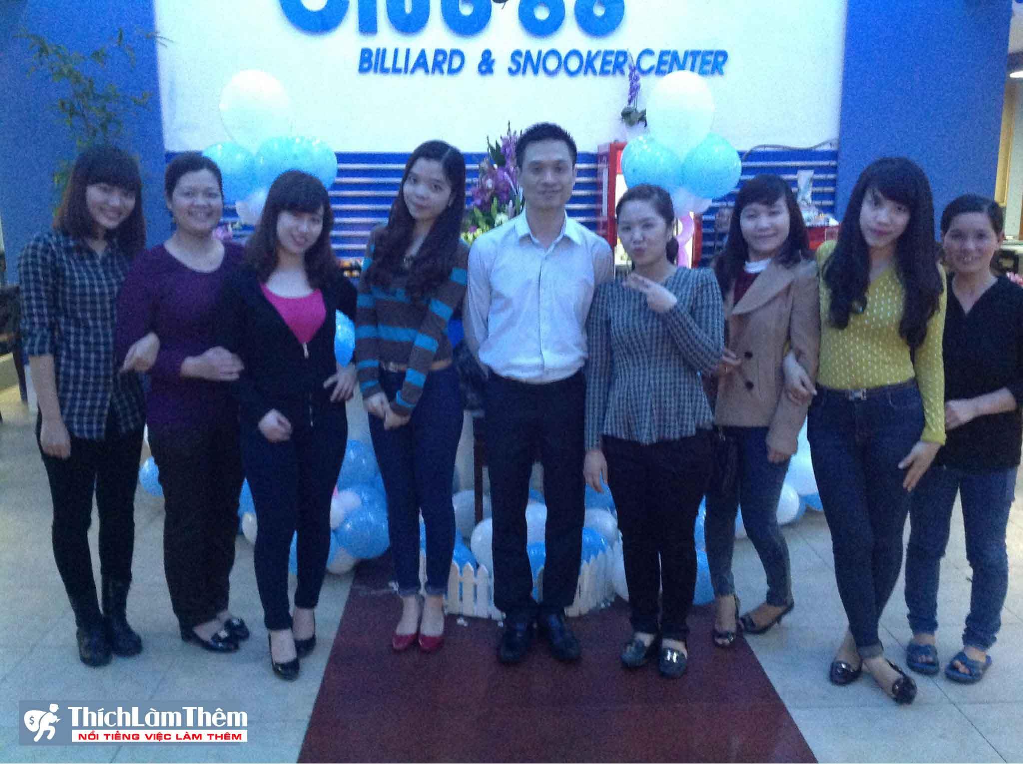 Tuyển nhân viên xếp bóng – CLB Bi-a Snooker Club86