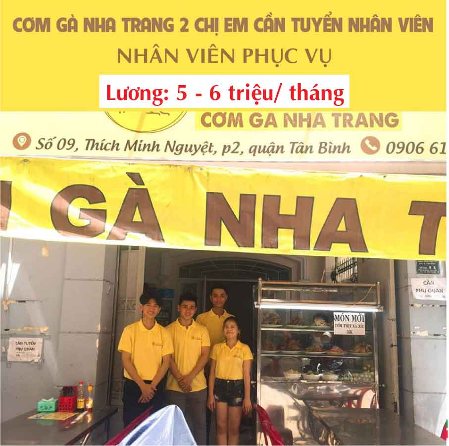 Tuyển nhân viên phục vụ – Quán cơm gà Nha Trang 2 Chị Em