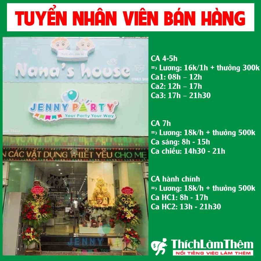 Tuyển nhân viên bán hàng – Hệ thống cửa hàng Nana's House – Bờm Store – Jenny Part