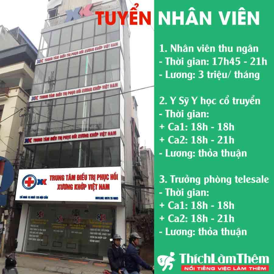 Tuyển nhân viên tại 3 vị trí – Trung Tâm Điều Trị Phục Hồi Xương Khớp Việt Nam