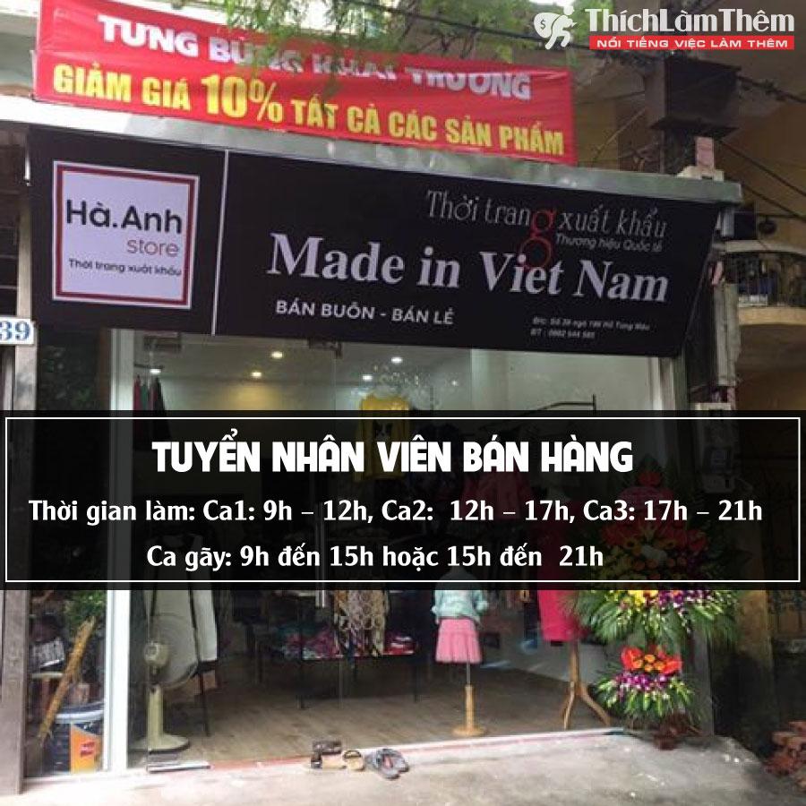 Tuyển nhân viên bán hàng – Hà Anh Store