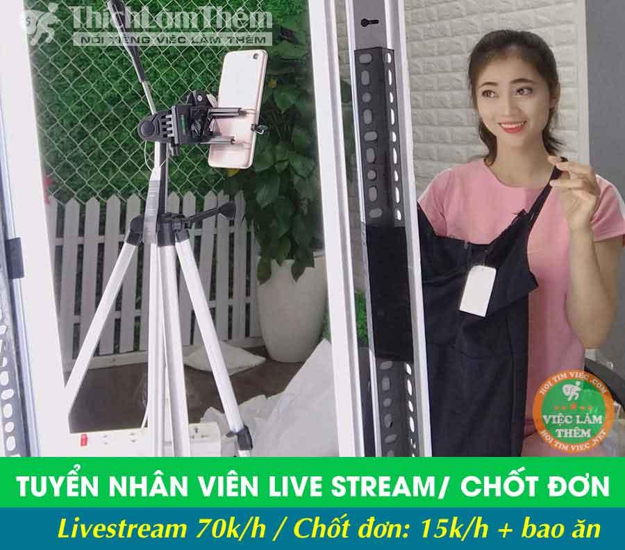 Tuyển nhân viên livestream , chốt đơn gói hàng – Shop Thời Trang