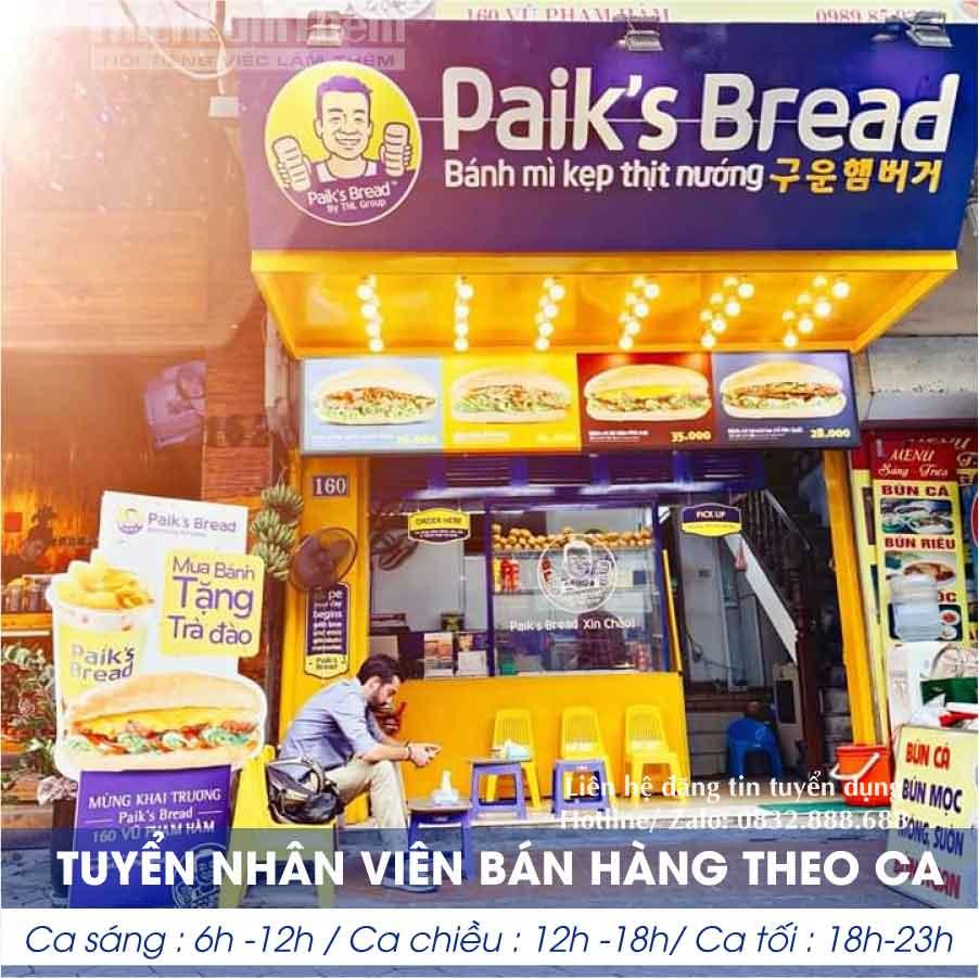 Tuyển nhân viên bán hàng – Hệ thống bánh mì kẹp Paiks Bread