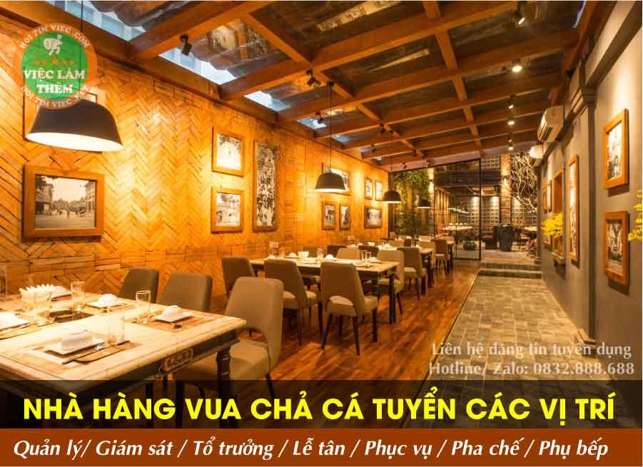 Tuyển nhân viên nhiều vị trí – Nhà hàng Vua Chả Cá