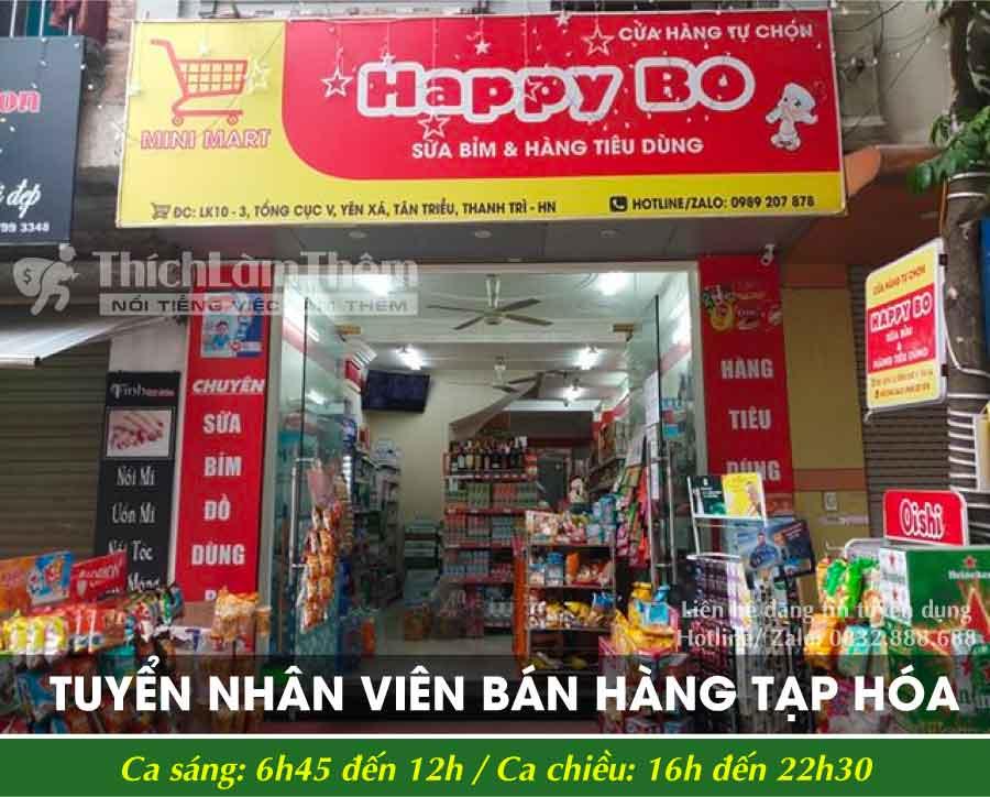 Tuyển nhân viên bán hàng – Cửa hàng tự chọn Happy Bo