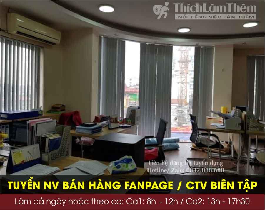 Tuyển nhân viên trực page bán hàng / CTV biên tập ( làm tại nhà) – Công ty X-Line Việt Nam