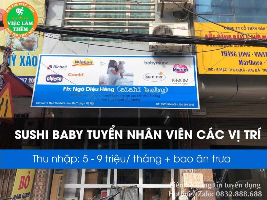 Tuyển nhân viên các vị trí lương cao – Shop Sushi baby
