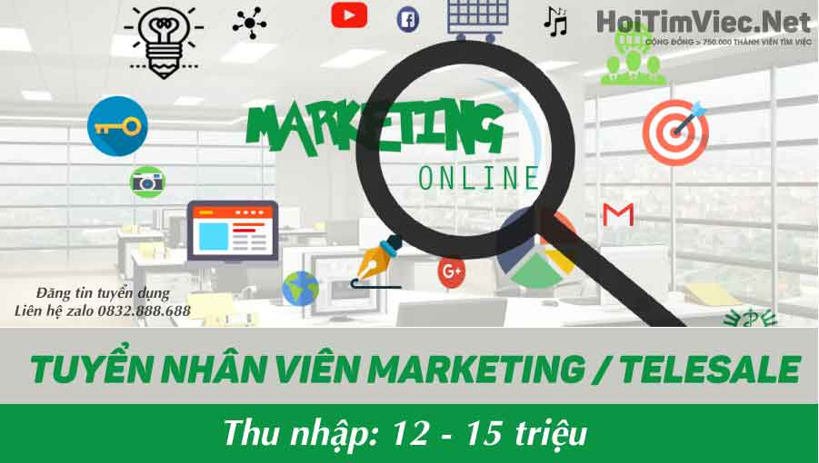 Tuyển nhân viên marketing, telesale – Shop Rose