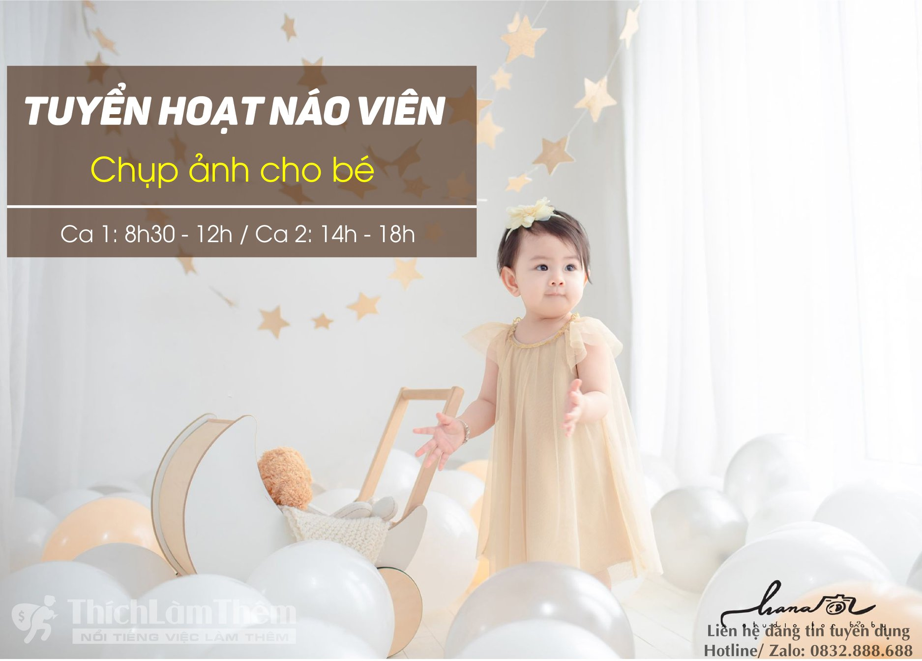 Tuyển hoạt náo viên chụp ảnh cho bé – Hana Baby Studio