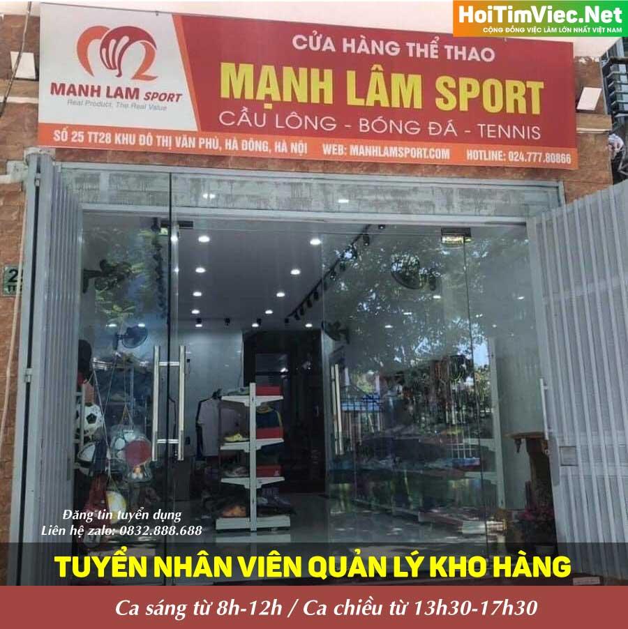 Tuyển nhân viên quản lý kho – Cửa hàng thể thao Mạnh Lâm