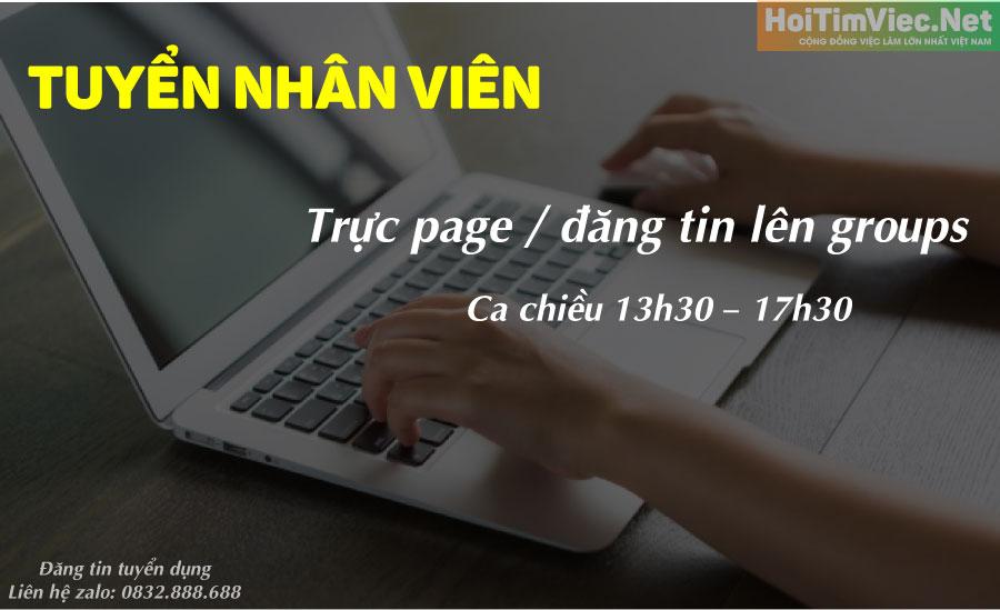 Tuyển nhân viên trực page, đăng bài – Công ty online