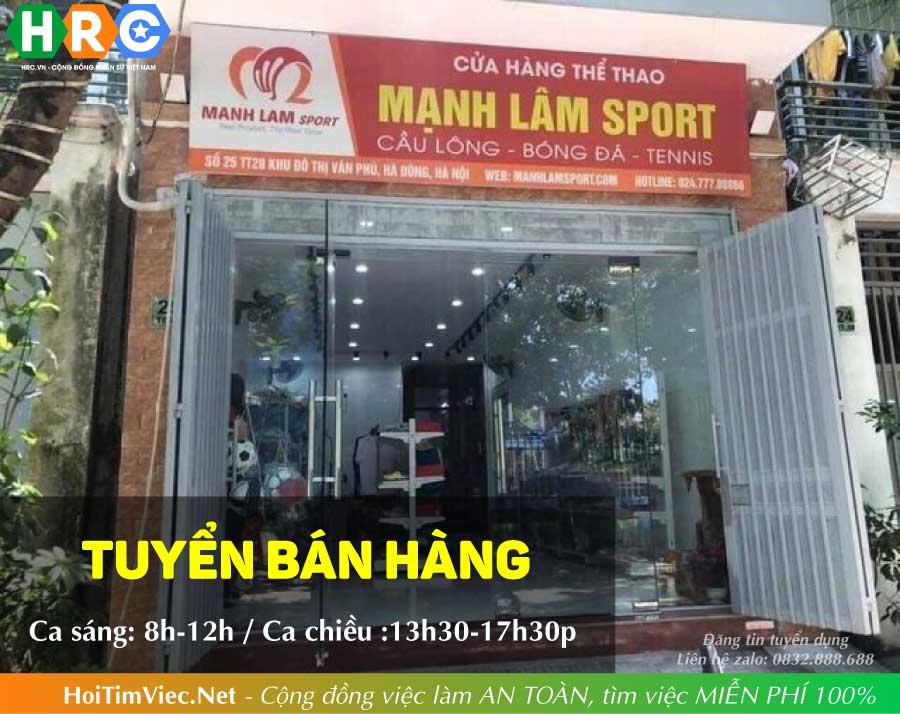 Tuyển nhân viên bán hàng – Cửa hàng thể thao ManhLamSport