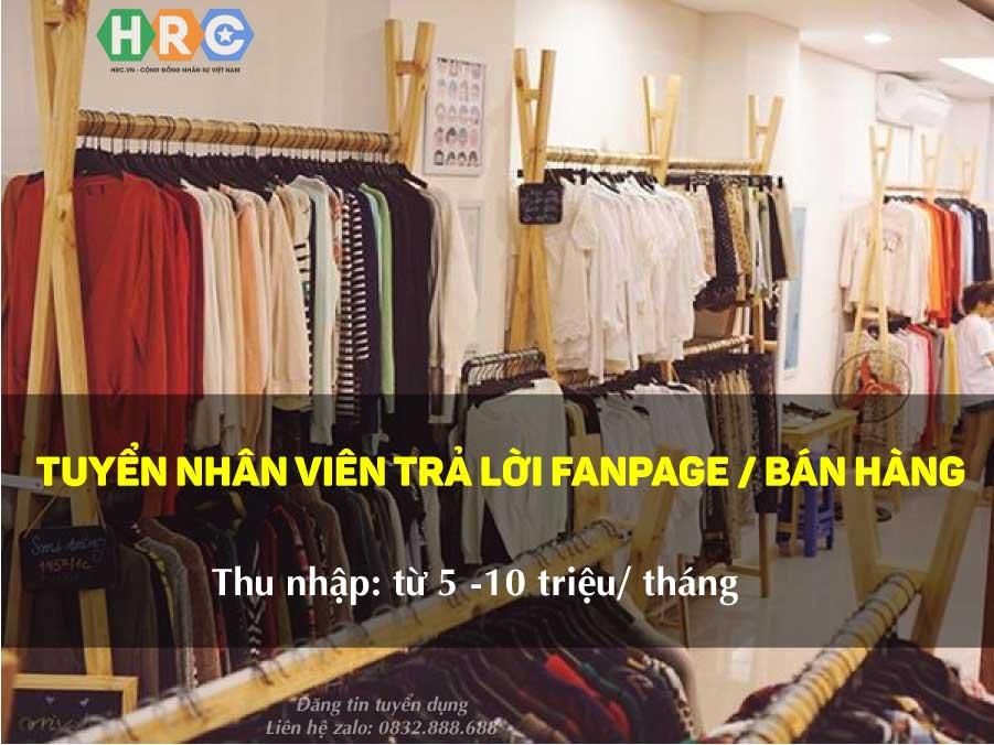 Tuyển nhân viên bán hàng, nhân viên kho, trực fanpage – Shop thời trang