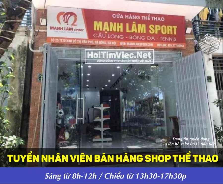 Tuyển nhân viên bán hàng – Mạnh Lâm Sport