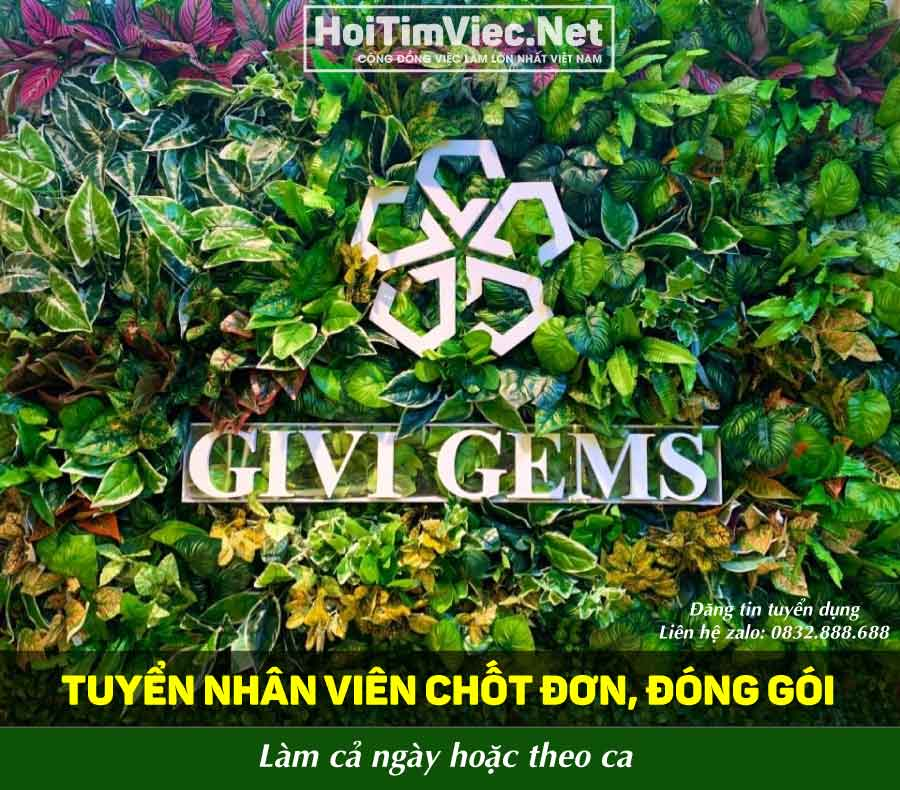 Tuyển nhân viên chốt đơn đóng gói – Shop Givi Gems