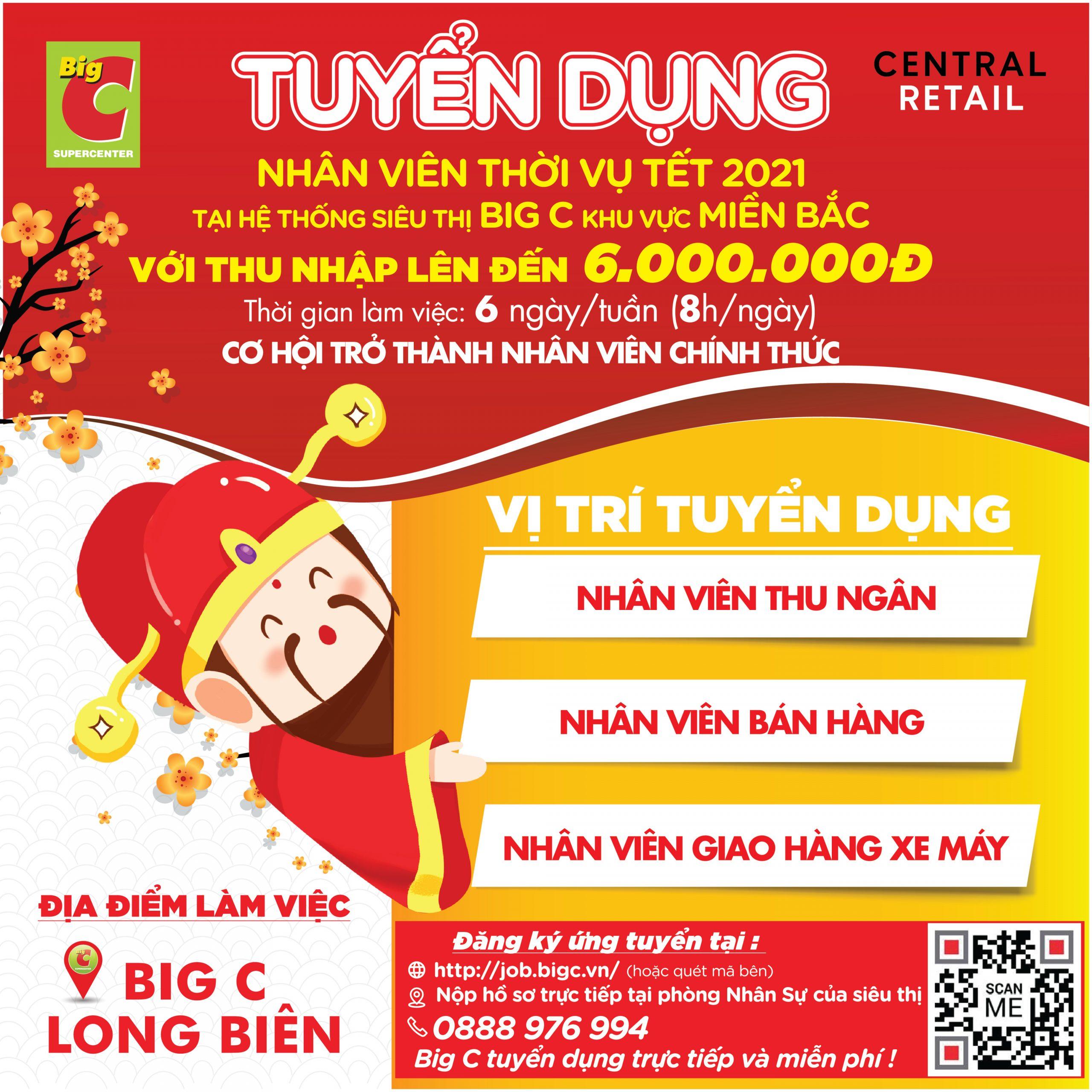 Tuyển nhân thời vụ tết 2021 – BigC Long Biên