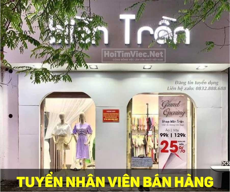 Tuyển nhân viên bán hàng – Hiền Trần Shop