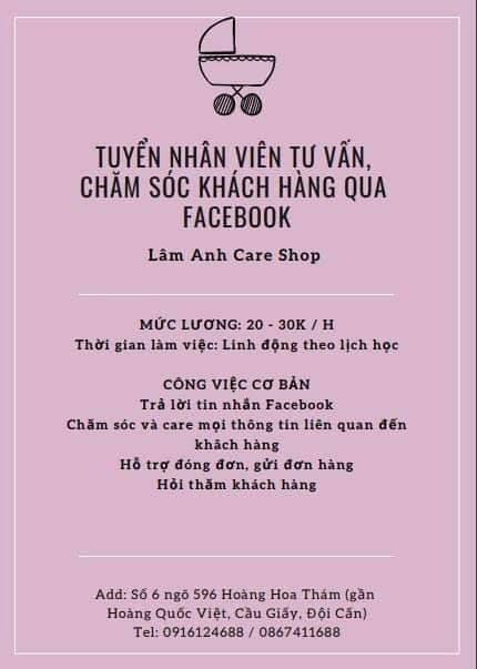 Tuyển nhân viên tư vấn bán hàng ca chiều – Shop Lâm Anh Care