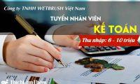 Tuyển kế toán lương 7 – 10 triệu – Công ty TNHH Wetbrush Việt Nam
